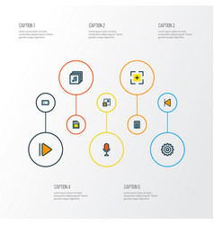 Media icons colored line set with minimize upward vector
