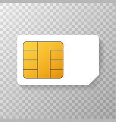 Mobile cellular phone sim card chip isolated on vector