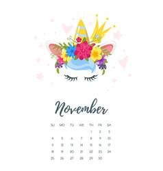 November 2018 year calendar vector