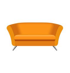 oval orange sofa mockup realistic style vector image