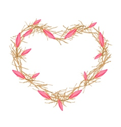 Pink Equiphyllum Flowers in A Heart Shape Frame vector image