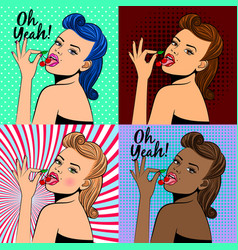 pop art style lady with cherry vector image
