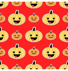 Red Halloween pumpkin seamless pattern vector image