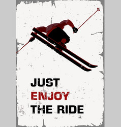 retro poster skier flying vector image