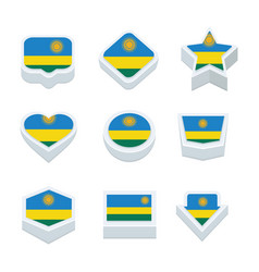 Rwanda flags icons and button set nine styles vector