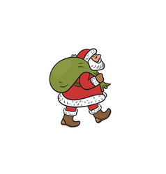 Santa claus carries a bag with gifts isolated on vector