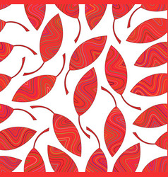 seamless pattern of red striped leaves vector image