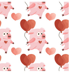seamless pattern with cartoon flat pink pigs vector image