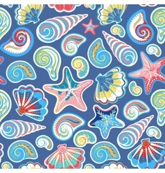 Seamless pattern with sea shells and starfish in vector image