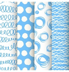 Set 4 blue and white doodle seamless patterns vector