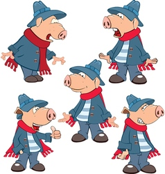 Set of Cartoon Cute Pigs vector image