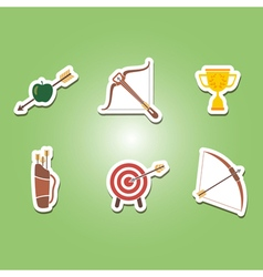 set of color icons with archery vector image