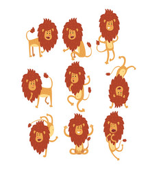 Set of funny african lion in different actions vector