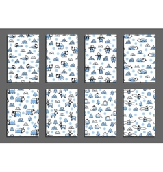 Set of greeting card templates with arctic vector