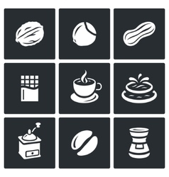 Set of nuts chocolate and coffee icons vector