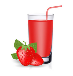 Set of strawberry juice and fresh ripe berries vector