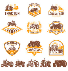 Set of tractor emblems farmers market design vector