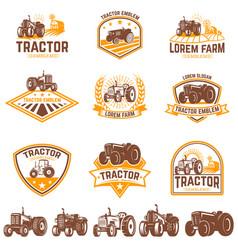 set tractor emblems farmers market design vector image