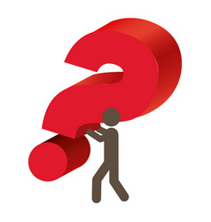 silhouette person carrying question mark vector image