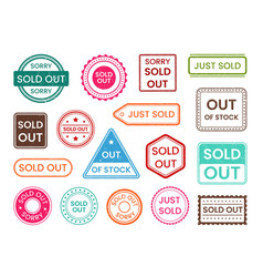 sold out stamp out stock shopping sale label vector image