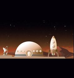 Spaceship on mars vector