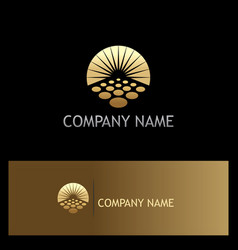 sun solar horizon gold logo vector image