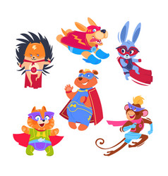 Superhero animal kids funny animals wearing vector