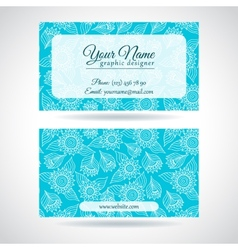 Template business card with lace flowers vector