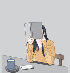 the girl is reading a book vector image