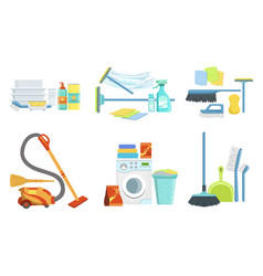 tools for cleaning set household supplies vector image