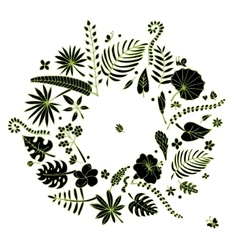 Tropical plants frame sketch for your design vector