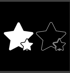 two star best of the best icon set white color vector image