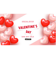 valentine s day sale background top view vector image