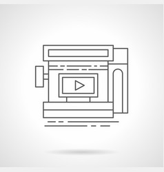 video ads in storefront flat line icon vector image