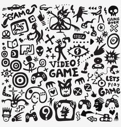 video games doodle set graphic symbols vector image
