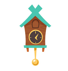 Vintage wooden cuckoo clock with pendulum vector