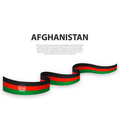 Waving ribbon or banner with flag afghanistan vector