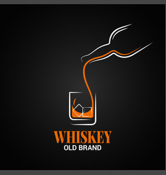 whiskey glass and bottle logo on black background vector image