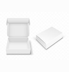 white blank cardboard box with flip top realistic vector image