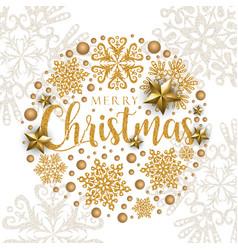 white golden merry christmas banner background vector image