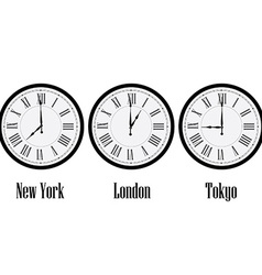 World time clocks vector