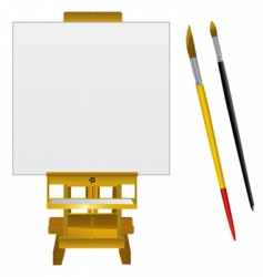 canvas art board and brushes vector image vector image