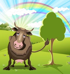 cow on green landscape vector image vector image