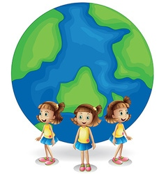 Girl standing in front of the earth vector image vector image