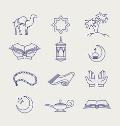 pen arabic muslim line signs vector image vector image