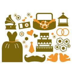 Retro wedding design elements - brown vector image vector image