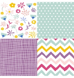 Seamless floral background set vector image vector image