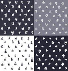 Seamless patterns with hand drawn elements vector image