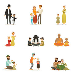 flat people characters of different vector image vector image