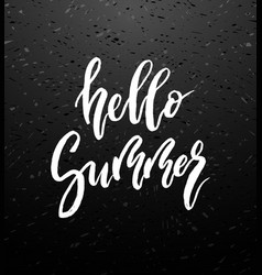 hello summer brush lettering vector image